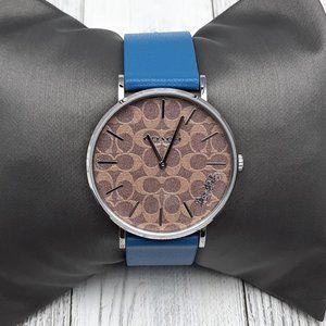 Coach Womens Perry Quartz Blue Leather Strap Watch